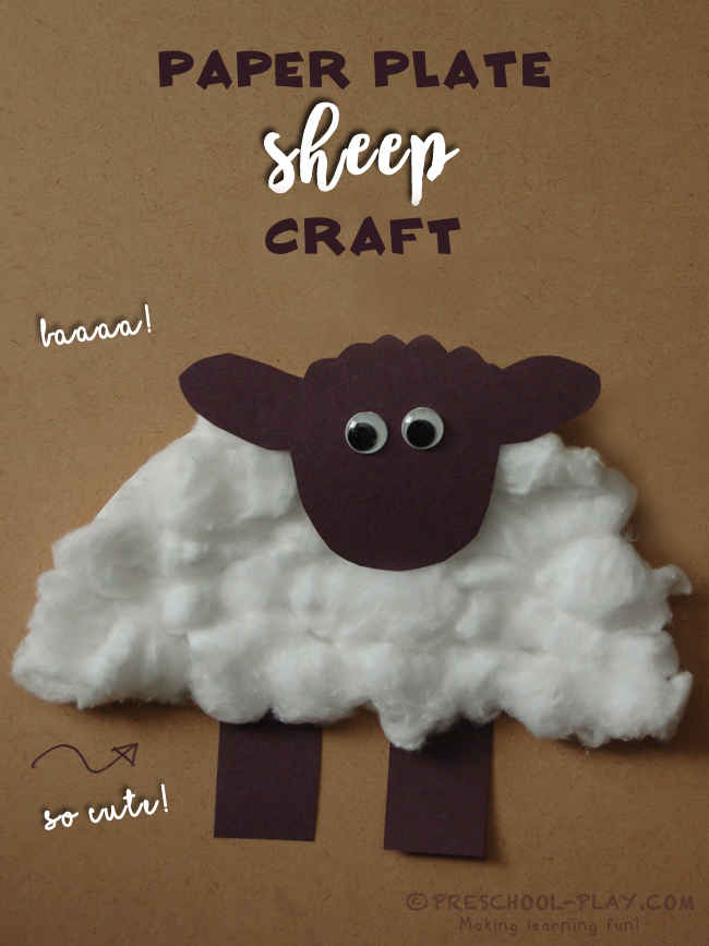 Paper plate sheep craft for Cardboard sheep template