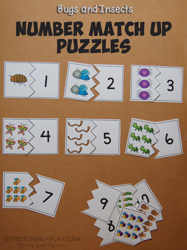 Bugs and Insects Number Up Match Puzzles