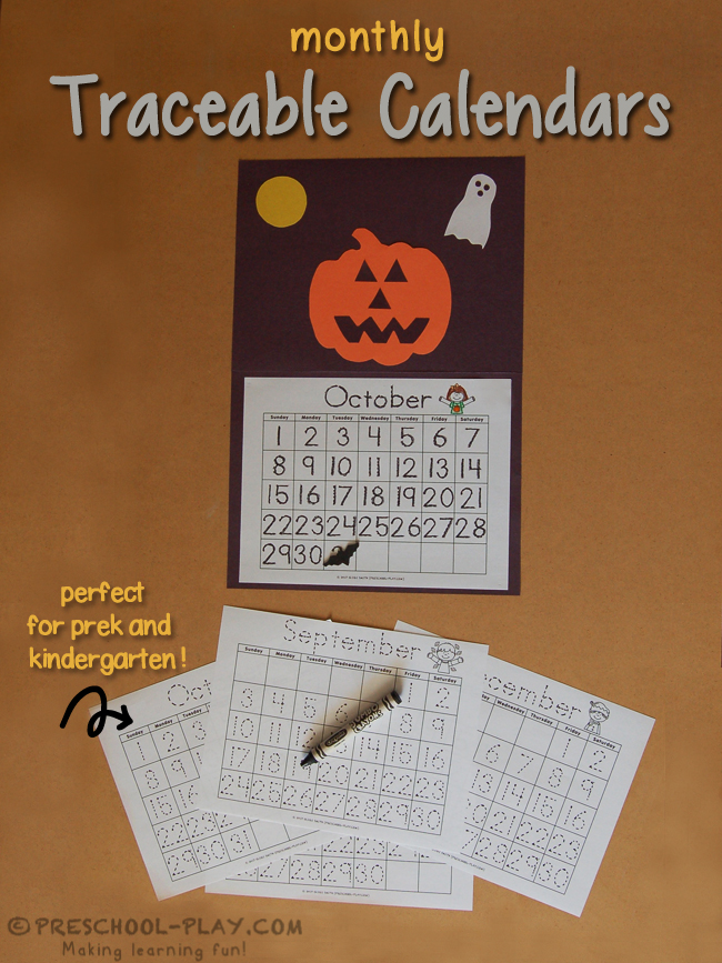 monthly traceable calendars