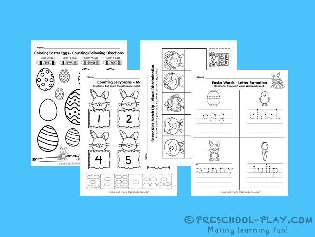 Worksheets Ives Preschool Play. Easter Math And Literacy Activities. Preschool. Preschool Worksheets Visual Discrimination At Mspartners.co